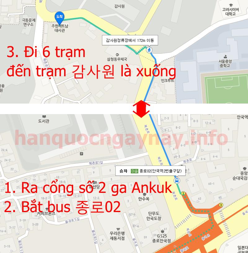 Cách đi bằng xe buýt đến Đại sứ quán Việt Nam tại Seoul