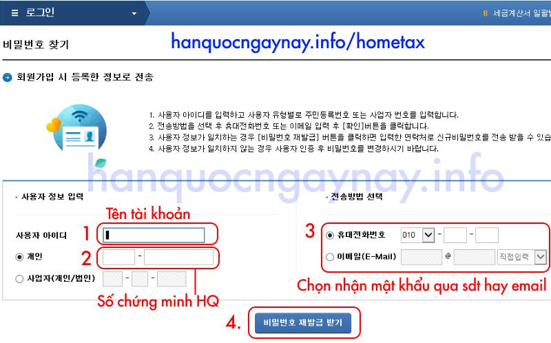 hanquocngaynay.info - Khôi phục mật khẩu trên HomeTax