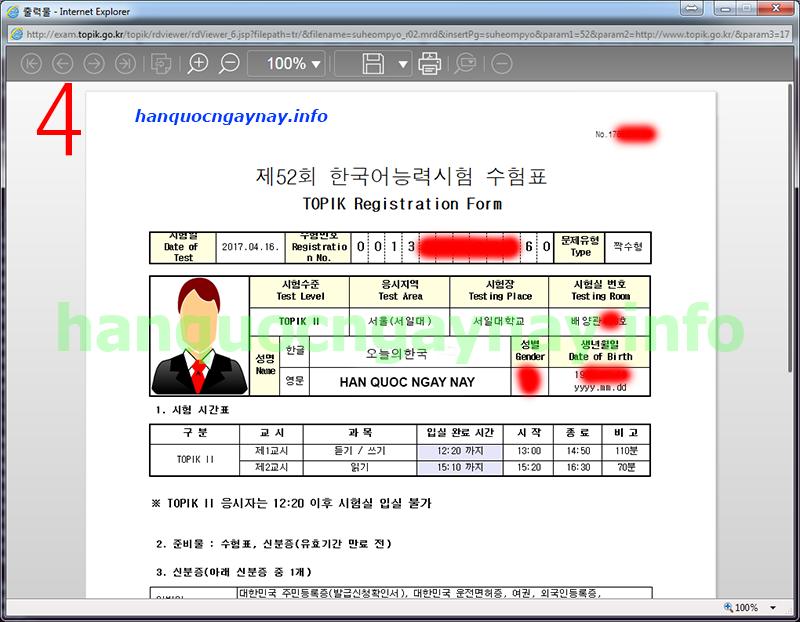 hanquocngaynay.info - Hướng dẫn in phiếu dự thi TOPIK