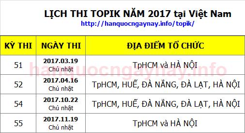 Lịch thi Topik năm 2017 tại Việt Nam