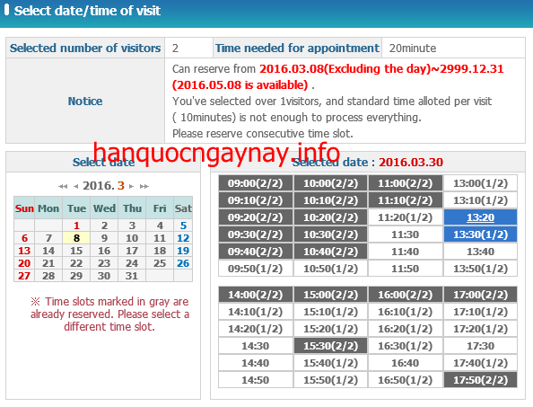 hanquocngaynay.info - Đặt lịch hẹn trên HiKorea