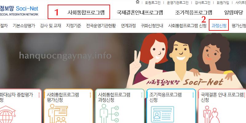 hanquocngaynay.info - Hướng dẫn đăng ký lớp hợp Hội nhập Xã hội