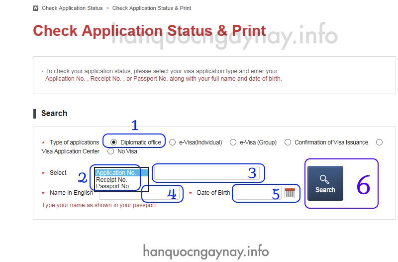 hanquocngaynay.info - Hướng dẫn kiểm tra kết quả visa Hàn Quốc qua mạng